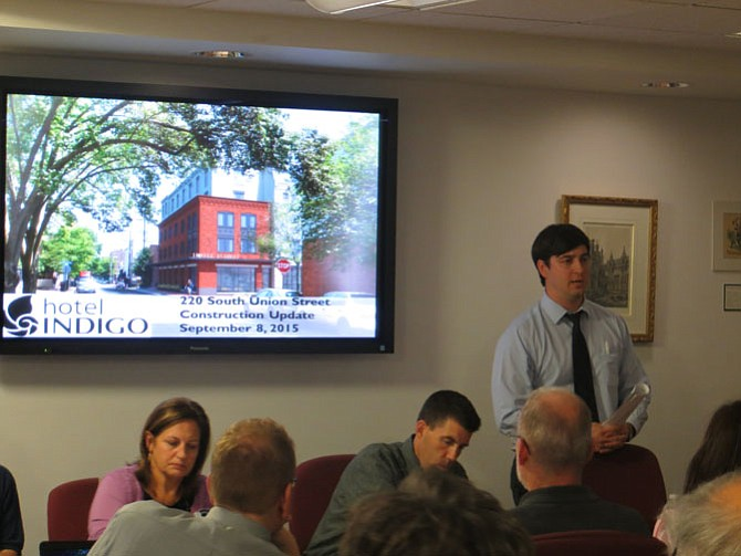 Austin Flajser addresses the Waterfront Commission and Old Town residents.