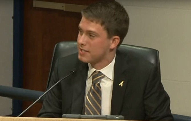 "School Board student representative Ben Press, a senior at James Madison High School, called the later high school start times ""an investment in our health."""