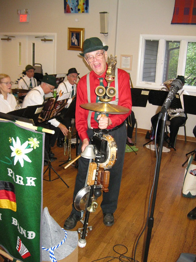 Bob Westin, of Springfield, plays the stumpf fiddle with the Kings Park German Band during the Oktoberfest Volksmarch at Accotink Unitarian Universalist Church in Burke.
