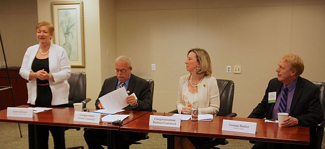 From left -- Moderator Ann Sullivan, MCCP board member, with elected officials and event panelists Rep. Gerry Connolly (D-11), Rep. Barbara Comstock (R-10), state Sen. George Barker (D-39).