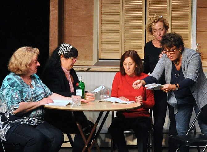From left -- Gayle Grimes as Jessie, Joanna Snitzer as Cora, Michelle Fletcher as Ruth, Barbara Gertzog as Celia and Jayne Victor as Chris in the Providence Players production of 'Calendar Girls.'