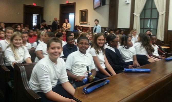 Students from  Jefferson-Houston, Samuel Tucker, Lyles-Crouch and Mount Vernon Community School sit in City Council chambers prior to the start of the Constitution Week ceremony Sept. 21..