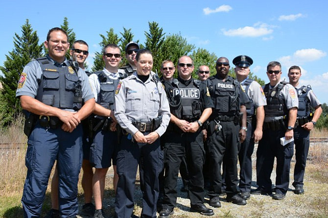 Members of Fairfax County Police and Norfolk Southern Railroad Police teamed up to spread awareness of safety and laws surrounding railroad tracks, which are considered private property and are illegal to cross.