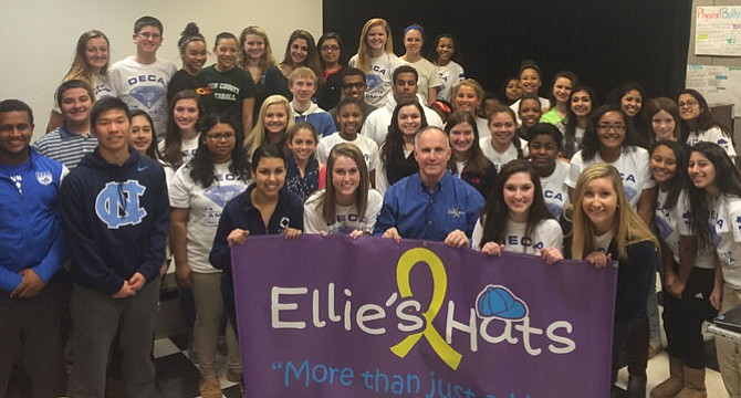 Jay Coakley, founder of Ellie's Hats, visited South County High School to speak about the organization's mission.