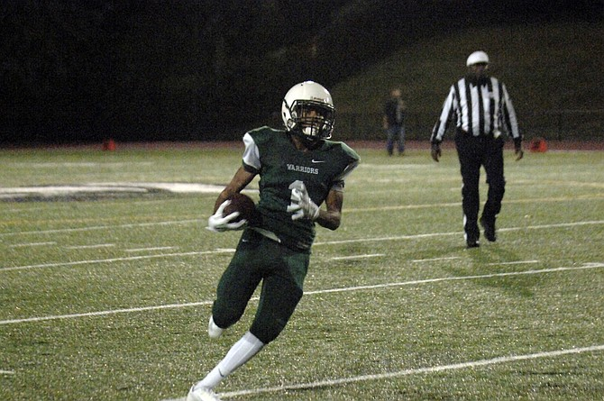 Wakefield sophomore James Clark carried the ball at the varsity level for the first time on Thursday and finished with 73 yards and two touchdowns against Mount Vernon.