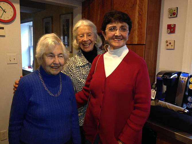 Left to right: Birgitte Guttstadt, Elizabeth Malcolm and Helen Desfosses of At Home in Alexandria (Virginia) enjoy coffee before Alexandria's Scottish Christmas Walk parade.