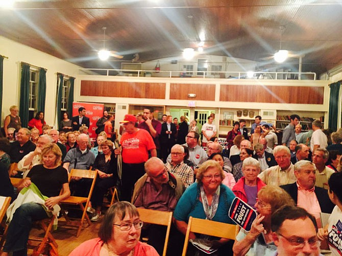 The crowd at the debate sponsored by the Great Falls Citizens Association last week at The Great Falls Grange.