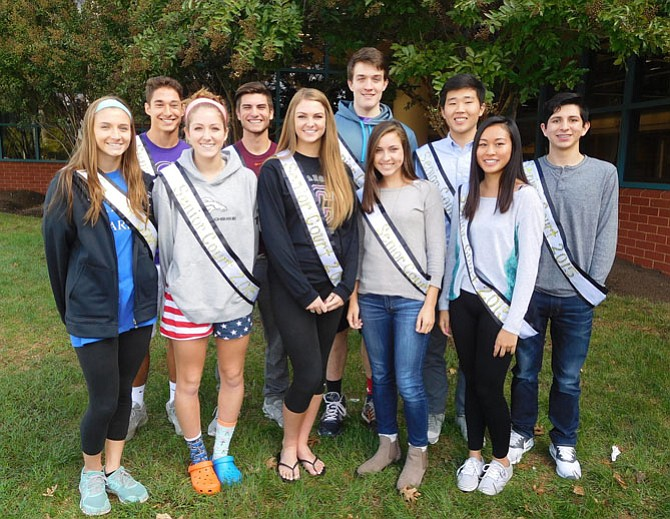 Senior Court: (back row, from left) are Colin Meehan, Forrest Wagner, Zach Crenshaw, Peter Kim and Juan Patino, and (front row, from left) are Macy Parana, Emily Sciorra, Erica Wilder, Kelsey Irwin and Christie Xin.