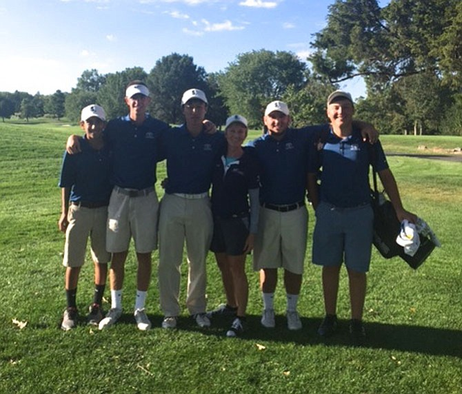 The South Lakes Varsity Golf Team, including Khyal Kapoor, Alex Nelson, Nick Kim, coach Carol Molesky, Kurtis Grant, Sean Shaughnessy and Reed Cornwall (not pictured), finished third in the Liberty Conference Golf Tournament. They have a home at Reston National Golf Course.
