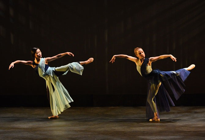 From left -- Gin Dance Company's Shu-Chen Cuff and Lindsay Benson Garrett in performance.