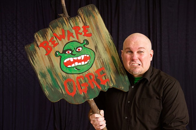 "Shrek (Paul Tonden) in rehearsal for Reston Community Players production of ""Shrek the Musical."""