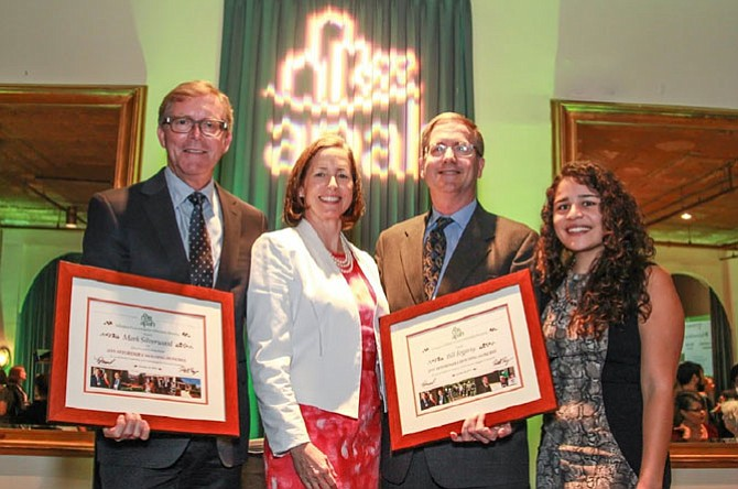 From left: Mark Silverwood, president, Silverwood Companies; Nina Janopaul, APAH president/CEO; Bill Fogarty, Shareholder, Walsh, Colucci, Lubeley & Walsh; and Allyson Suria, APAH resident and Marymount University student.