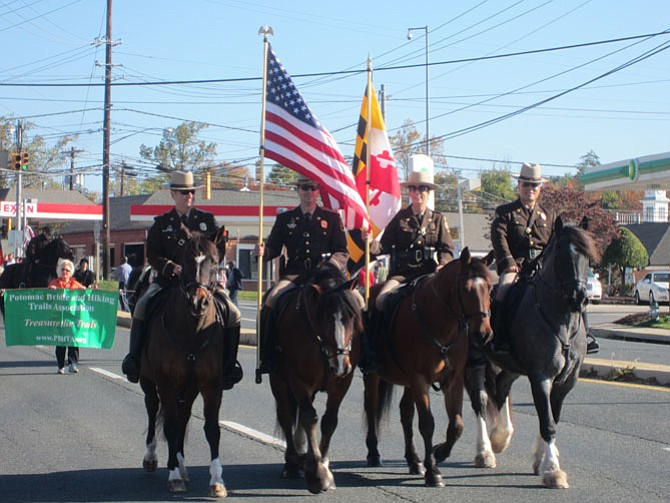 Mounted police lead the Potomac Day parade last year.
