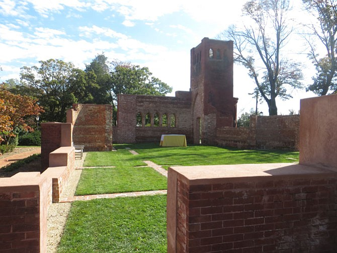The old Immanuel Chapel, destroyed by a fire in 2010, converted to an open garden.