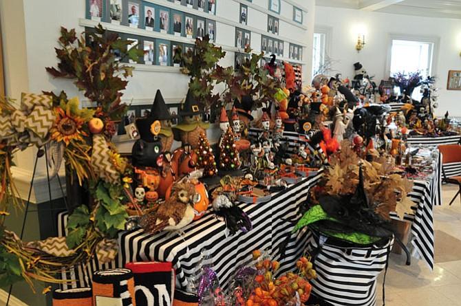 A Halloween-theme enhanced several craft tables.