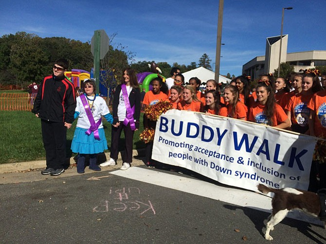 Del. Eileen Filler-Corn (D-41) and Natalie Beck lead the DSANV Buddy Walk at George Mason University.
