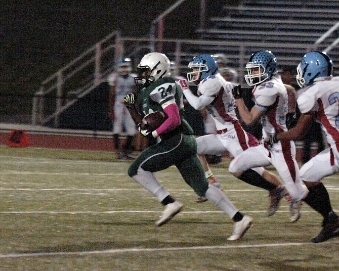 Wakefield running back Leon Young totaled 279 yards of offense and scored four touchdowns during the Warriors' 33-19 win over Marshall on Friday.