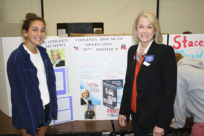 After a breakfast and interview with Del. Kathleen Murphy (D-34), Annie Blair was able to show Murphy her completed presentation.