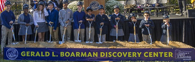 Student representatives from all Bullis classes, grades 2-12, wielded shovels at the groundbreaking ceremony for the 67,000-square-foot Gerald L. Boarman Discovery Center. Construction is expected to be completed in spring 2017.