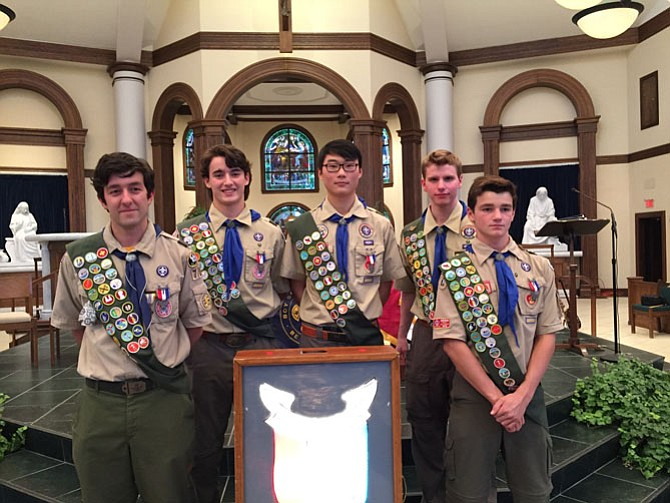 From left, the new Eagle Scouts are Joseph Blumenauer, Joey Toker, Noah Monnig, Evan Patterson, and Christopher Monteferrante.