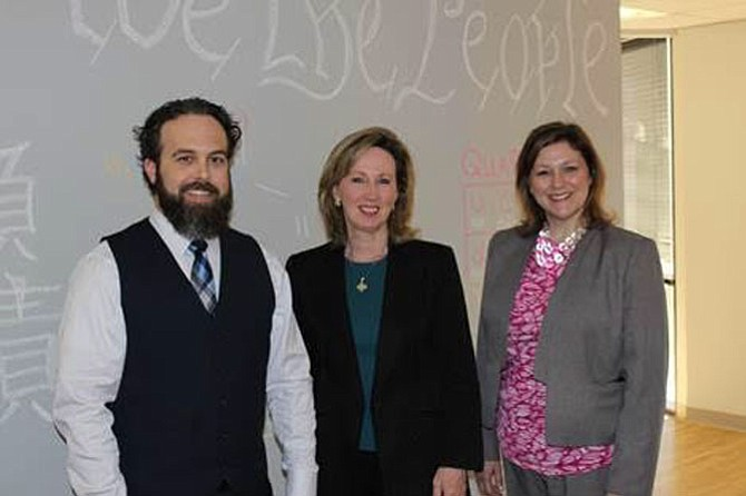 Head of School Sean Aiken, U.S. Rep. Barbara Comstock (R-10), and Joanna Lange.