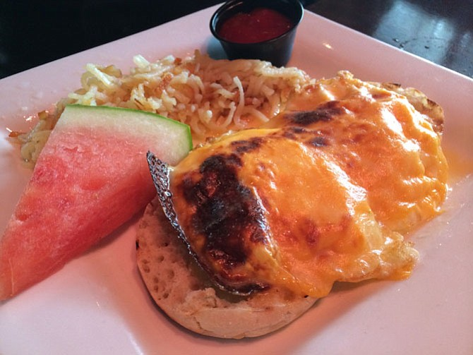 The open-faced fried-egg sandwich is a welcome sight at Shooter McGee's for Sunday brunch.
