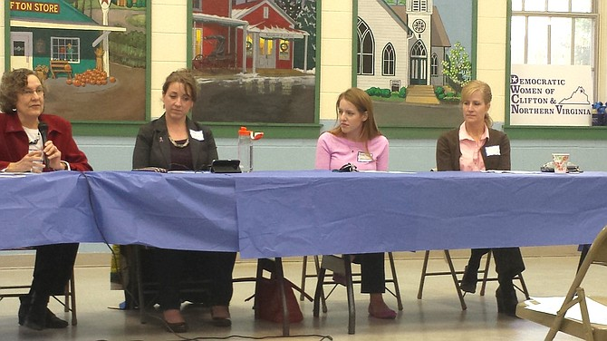 (From left) Panelists Melanie Dunn-Chadwick, Nora Mahoney, Heather Sarmiento and Jacqui Smith were hosted by the Democratic Women of Clifton and Northern Virginia for a public meeting discussing domestic violence in Northern Virginia. The panel took place at Clifton Town Hall on Oct. 18.