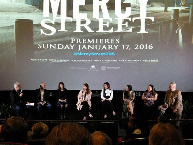 Actress Tara Summers, fourth from left, talks about her experience during the filming of Mercy Street following a screening of the Alexandria-based Civil War drama Nov. 5 at the AMC Hoffman Theaters. Summers was joined by other cast members, PBS producers and Historic Alexandria staff during the Q&A session following the premier, which kicked off the Alexandria Film Festival.