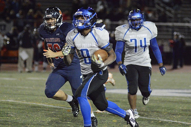 West Potomac sophomore running back Daiimon Cleveland carried 25 times for 291 yards and four touchdowns during Friday's 40-19 playoff victory over West Springfield.