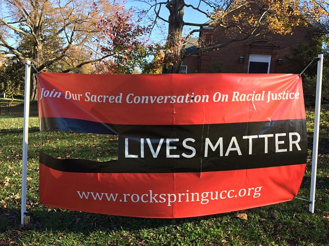 "The ""Black Lives Matter"" banner was vandalized sometime the night of Sept. 10 at Rock Spring Congregational UCC on Little Falls Road. It had been installed in September as part of a year-long conversation on racial justice."
