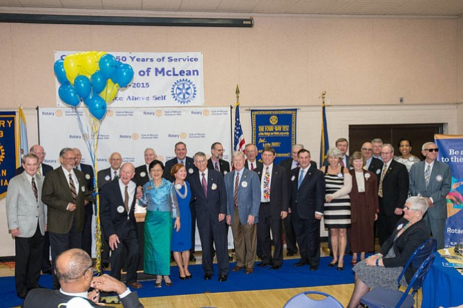 Twenty-five past-presidents of the Rotary Club of McLean reunited at the 50th Anniversary celebration.