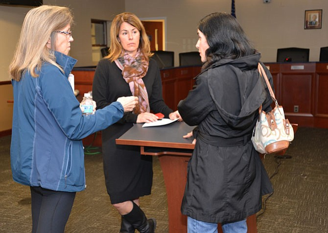 "From left --Julie Hirka, Vienna Mayor Laurie DiRocco, Laurie Miller at the Mayor's ""Vienna at Your Service"" event. Hirka and Miller both voiced concerns about the plans and the impact on the community. Neither is convinced that VDOT's solution is the answer to the perennially congested I-66."