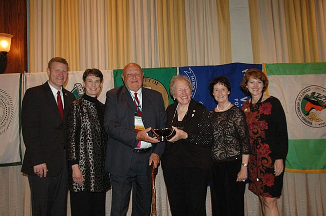 From left : Jeff McKay (Springfield District supervisor), Linda Smyth (Providence District supervisor), Gerry Hyland (Mount Vernon District supervisor), Penny Gross (Virginia Association of Counties immediate past president and Mason District supervisor), Sharon Bulova (Fairfax County Board of Supervisors chairman) and Sallie Clark (National Association of Counties president).