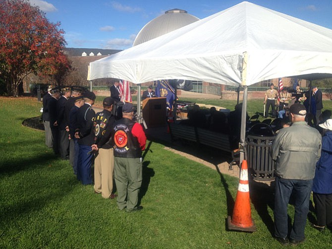 Veterans, active duty members, town dignitaries and citizens gathered on the green behind the Herndon Municipal Center on Nov. 11. David Kirby, Commander of American Legion Post 184, welcomed everyone to the event. Kirby is also a member of Hendon Town Council.