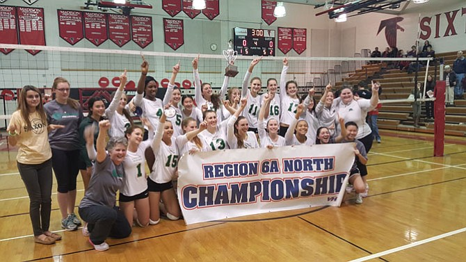 The Langley volleyball team won the 6A North region championship on Saturday with a four-­set victory over Madison.