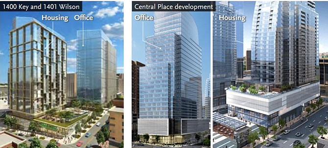 Development plans for office/residential buildings in Rosslyn.