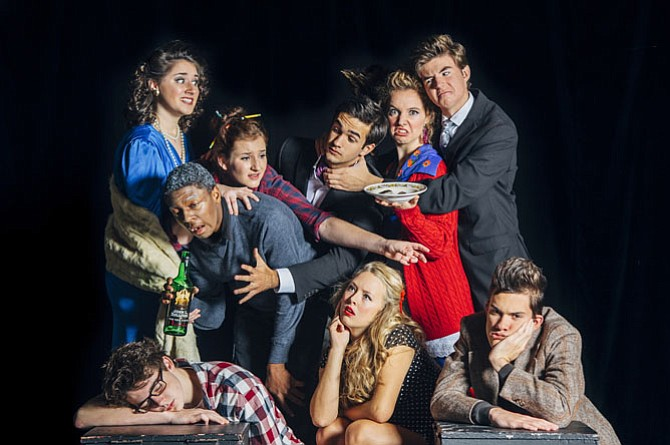 "Robinson Secondary School actors present Michael Frayn's comedy ""Noises Off."" Top row, from left: Madyson Hanton, Daniel Williams, Julia Mahon Kuzin, Matthew Ross, Hanna Kornell, RJ Pratt; bottom row, from left: Colin Diggs, Alex Lane, Matthew Cook."