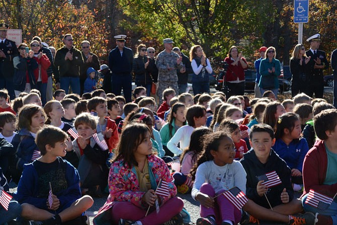 Military and non-military parents joined students at a Veterans Day celebration in front of Sangster Elementary School on Nov. 11.