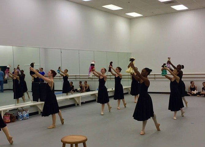 "Fairfax Ballet Company dancers in rehearsal for ""A Fairfax Nutcracker."""