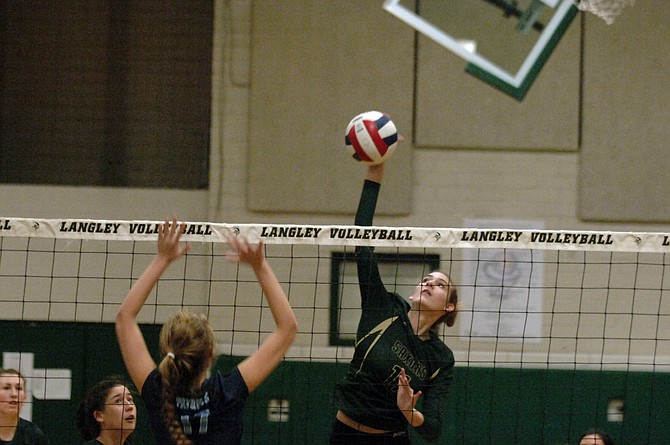 Langley sophomore Allison Franke had five kills against First Colonial on Tuesday in the 6A state volleyball semifinals.