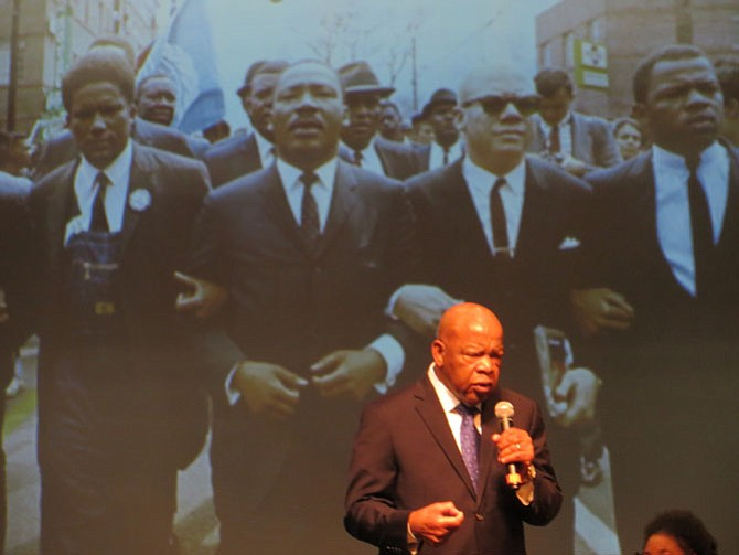 U.S. Rep. John Lewis at T.C. Williams High School and in photo, on far right, at Selma.