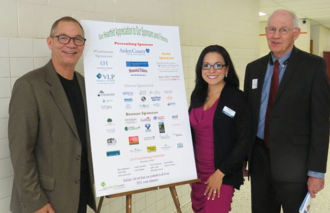 Pictured at pre-event reception are (from left) headliner, Mack Dryden; Francia Smith, marketing director for Arden Courts of Annandale/Arden Courts of Fair Oaks, presenting sponsor and Richard Duesterhause, SCOV Board chair