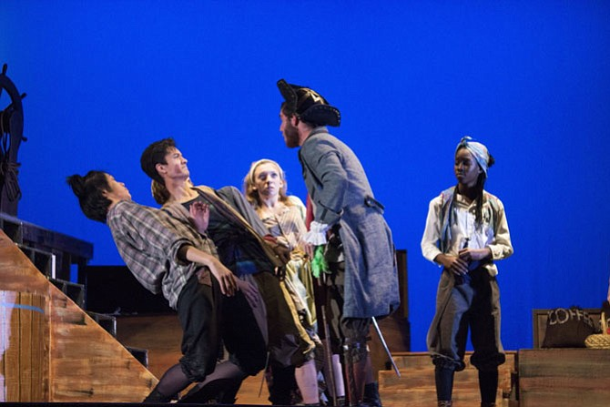 From left:  Lawrence Yang, Michael Gorospe, Jess Bice, Binette Nam and Michael Williamson in Oakton High School's production of 'Treasure Island.'