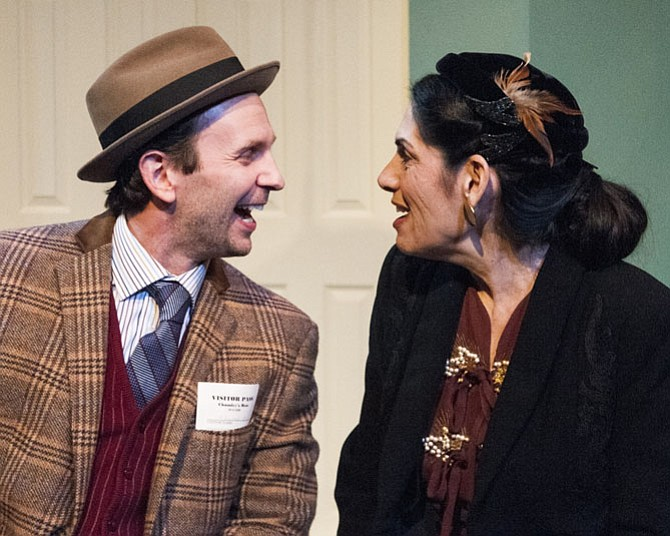 "Jonathan Lee Taylor as Elwood P. Dowd and Sue Schaffel as Betty Chumley in ""Harvey"" at 1st Stage. Photo by Teresa Castracane."
