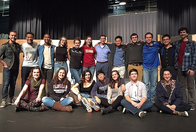 """Love/Sick's"" cast at a workshop with the playwright: (back row, from left) Director Erich DiCenzo and students Darien Weems, Gulet Isse, Clara Poteet, Bridget Baucum, Katie Ryan, Elijah King, Matthew Velasco, Kyle Huott, Eddie Zakreski, Phoenix Noiwan and playwright John Cariani; and (front row, from left) Rachel Cahoon, assistant director Janey Silas, Renee Rozell, Zion Jang, Molly Berry, Michael Mitchell and Pari Karkehabadi."
