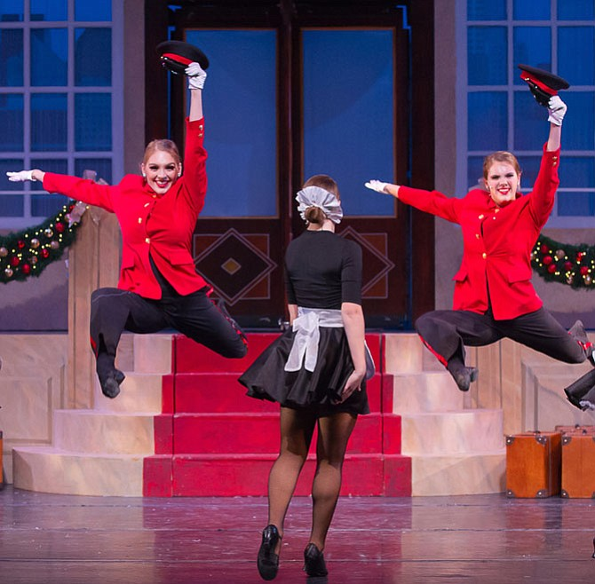 "From left: Renee Griese, Sara Avery and Claire Griese kick up their heels in the number, ""Welcome to the Grande."""
