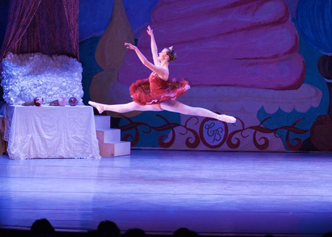 "Great Falls' Caroline Wildman, a senior at the Madeira School, soars across stage as The Sugar Plum Fairy in the Conservatory Ballet's ""The Nutcracker."""