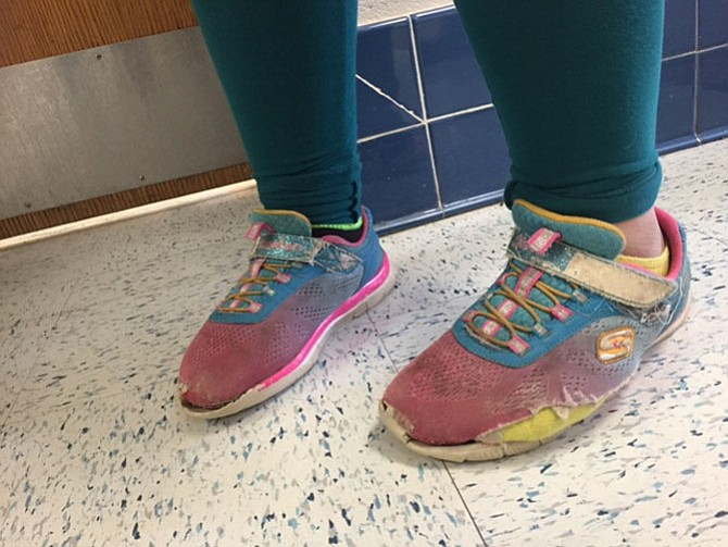 Alice's Kids responded to a student referral from Riverside Elementary School on Old Mount Vernon Road with well-worn out shoes.