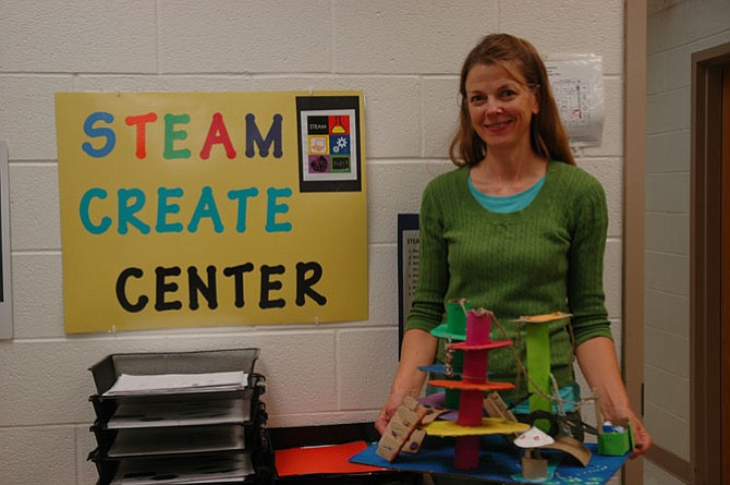 Colvin Run art teacher Lauren Grimm's sixth grade students used STEAM elements to design and build inventive playground sculptures.