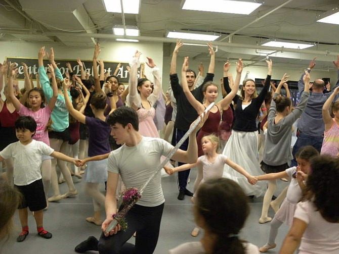 "The ensemble rehearses at The Center for Ballet Arts' new studio in Fairfax for its production of ""Nutcracker in  a Nutshell"" playing Saturday and Sunday, Dec. 19 and 20 at NVCC Alexandria's Schlesinger Concert Hall."